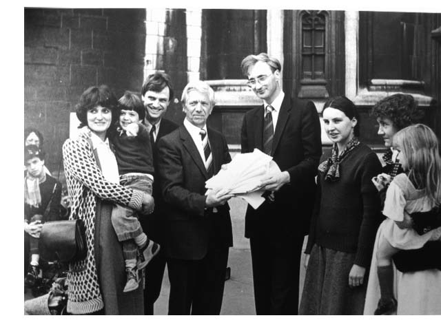 Jack Ashley presents a petition to Sir George Young  1981